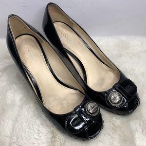 Coach Black Patent Leather Peep Toe Block Heels
